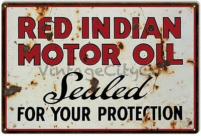"""""""Sealed for your Protection"""" - Red Indian Motor Oil Antique Style Metal Sign"""