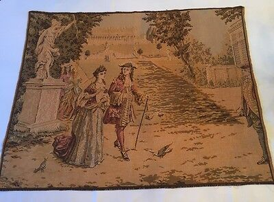 Antique Vintage Woven Tapestry Scene Couple Plantation Colonial Victorian