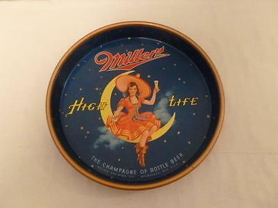 """Vintage 1950s 13"""" Miller High Life Beer Tray GIRL ON THE MOON Good Shape-BL"""