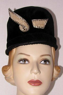 Vintage Black Velvet Hat W/ Beads- Picardy -France