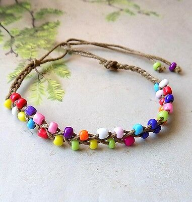 New 3 Lady's Hand Braided Elegant Rainbow Silk String Character Hip Anklets
