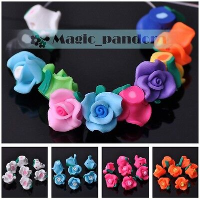 New DIY Findings 12*9mm Fimo Polymer Clay Flower Loose Spacer Beads Mixed Colors