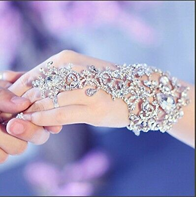 Luxury Silver Crystal Bridal Bracelet Wedding &Formal Occasion With Ring