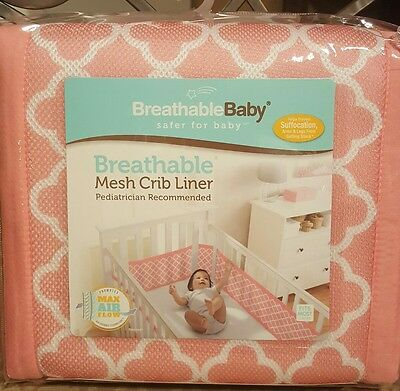 New!!!! Breathable Mesh CRIB LINER color clover/Coral  Free Shipping!!