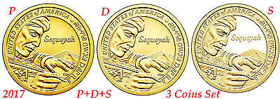 2017 P D S 3 Coin Set Native American Sequoyah Cherokee Dollar incl Proof