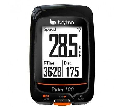 Bryton Rider 100 E GPS Cycle Computer - Multi-function with Out Front Mount BLAC
