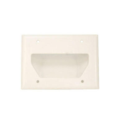 3-Gang Recessed Low Voltage Cable Wall Plate - White - Monoprice