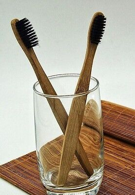 ECO FRIENDLY BAMBOO CHARCOAL TOOTHBRUSH - biodegradable natural brush for teeth