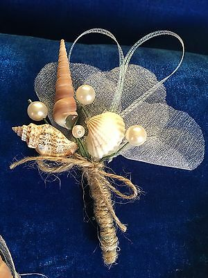 GROOM Buttonhole,Boutonniere Shell,Beach Wedding Accessory,Bridal Flower Bestmen