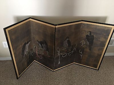 Antique 1900's Japanese Falcon Screen Painting on 2-Way Folding 4-Panel - 3'x6'