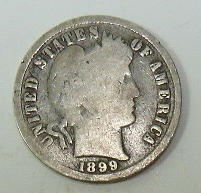 1899-S Barber Liberty Dime Silver 10c US Coin Item #10619