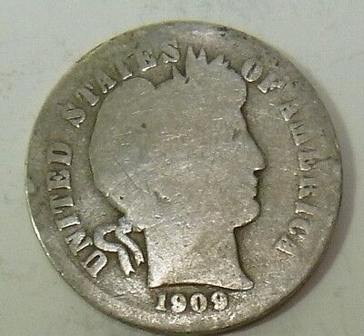 1909-S Barber Liberty Dime Silver 10c US Coin Item #10637