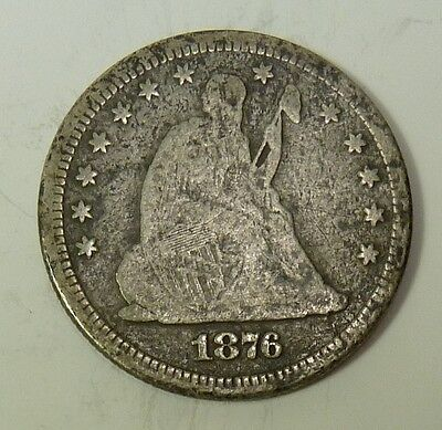 1876-P Seated Liberty Quarter Dollar Silver 25c US Coin Item #10655