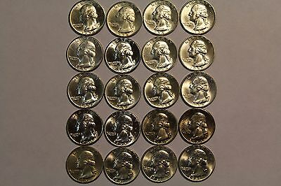 Bu half roll of toned/spotted Washington Quarters 1955-P, 54-D, 57-D and more!!