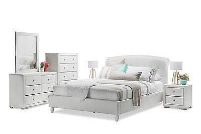 White Tufted Bedhead Faux Leather Luxury Deluxe Queen Size Bedroom Suite Options