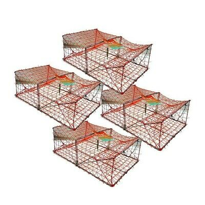4 X Wilson Heavy Duty Rectangular Crab Traps - 2 Entry Crab Pots  - Orange Mesh