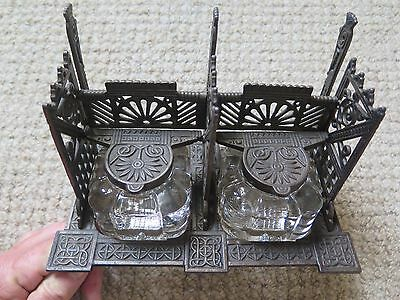 CAST IRON DOUBLE INKWELL PEN STAND LETTER HOLDER c1890 EXCELLENT CONDITION