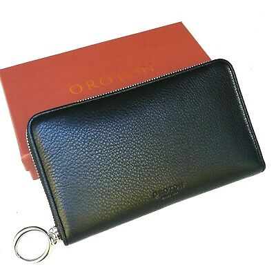 NEW OROTON Wallet Melanie MultiPocket Zip Large Clutch Purse Pebb Black Leather