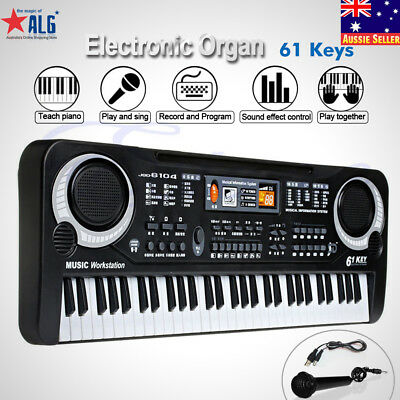 61 Keys Digital Music Electronic Keyboard Electric Piano Key Board Black New