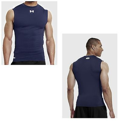 Under Armour Herren Heatgear  Compression Shirt Sonic Navi Ärmellos