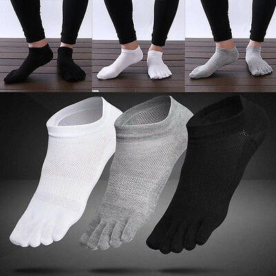 3 Pairs Mens Cotton Toe Five Finger Socks Ankle Sports Breathable Low Cut New