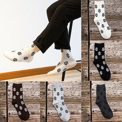 Men's Long Socks Harajuku Money Dollar Patterned Black Socks Funny New Design