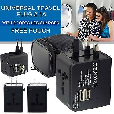 International World Wide Multi Travel Plug Charger Adapter+2USB PORT Black NEW