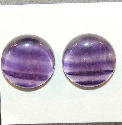 Fluorite Cabochons 18mm with 6mm dome set of 2 (12138)