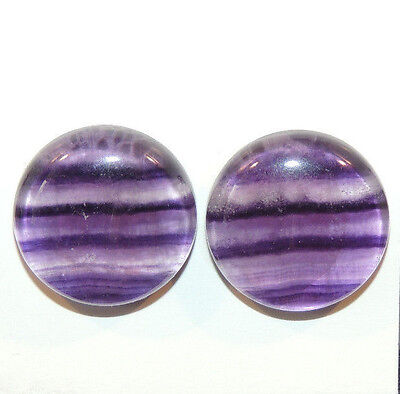 Fluorite Cabochons 18mm with 6mm dome set of 2 (12139)