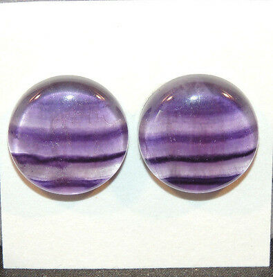 Fluorite Cabochons 18mm with 6mm dome set of 2 (12142)