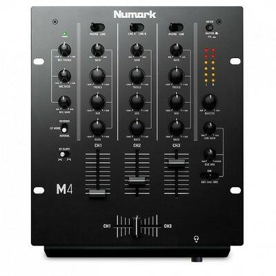 NUMARK M4 - 3 Channel DJ Rack Mount Mixer with 3 Band EQ Effects Phono Line Mic