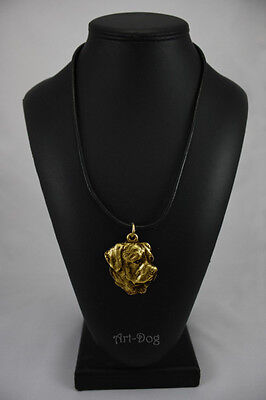 Rottweiler, gold covered necklace, high qauality Art Dog CA