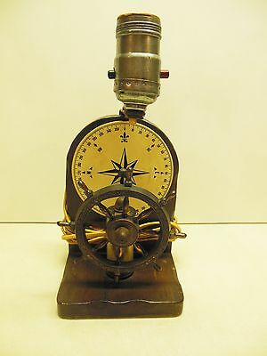 Vintage Nautical Wheel & Compass Lamp, Used & Working
