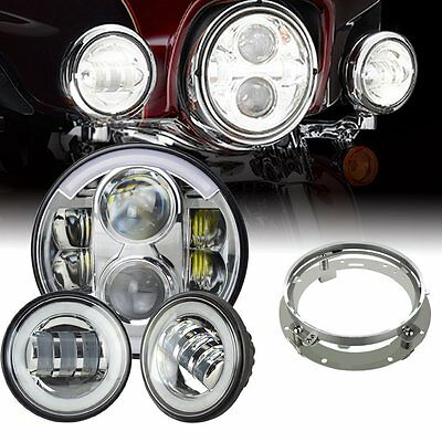 "7"" LED Daymaker Headlights Passing Lamp For Harley Davidson Touring Road King"