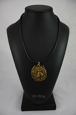 Chow Chow, gold covered necklace, high qauality Art Dog CA
