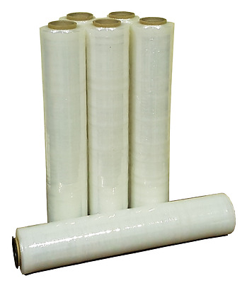 6 Rolls 500mm x 300m 20um Clear Hand Stretch Film for Pallet Carton Shrink Wrap