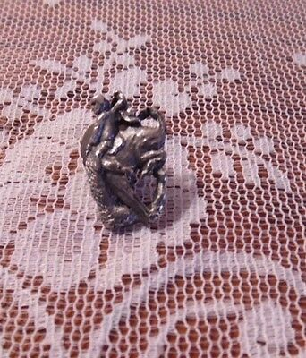 Vintage Silver Metal Rodeo Pin Cowboy Man on Horse Hat Tie Pin Southern Unisex