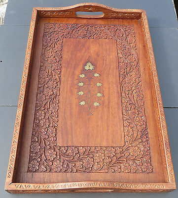 Vintage Indian Carved Wooden Tray with Brass Inlay
