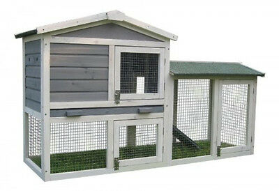 BUNNY BUSINESS The Grove Grey Double Decker Rabbit Guinea Pig Hutch and Run