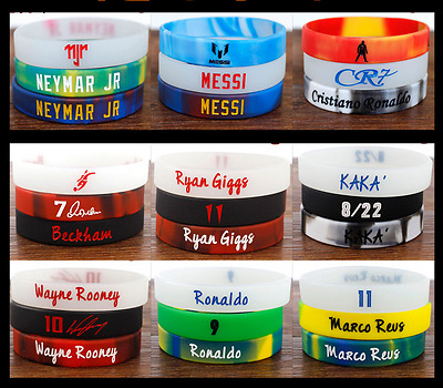 3PCS Soccer Football Star Bracelet Sports Silicone Rubber Wristband Strap Cuff