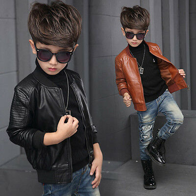New children's clothing leather jacket spring and autumn paragraph boy jacket#08