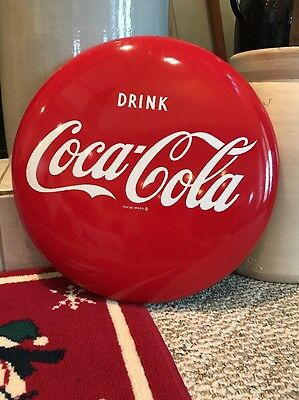 "Drink Coca Cola Button, 16"", 1950s, Great Condition!"