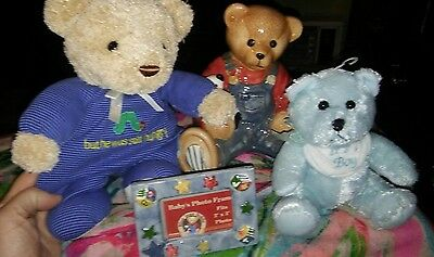 BABY BOY Teddy bear bank and friends with small frame