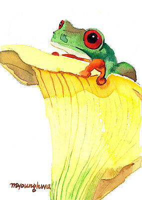 ACEO Limited Edition - Frog in an iris, Art print of an ACEO original watercolor