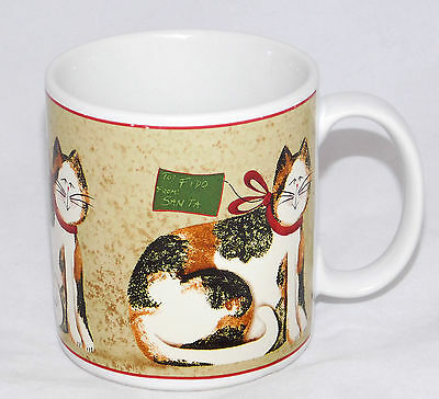 Sakura Fiddlestix Christmas Cats Calico Cat Coffee Mug Cup Stoneware