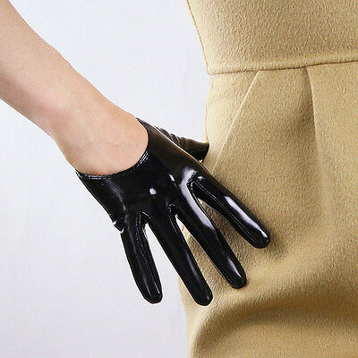 Shine Leather Faux Patent Leather Extra Short Gloves Black Cosplay Gothic Latex