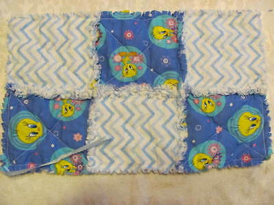 New Tweety Bird Blue Chevron Inspired Pacifier Clip Pacifier Holder/Burp Cloth