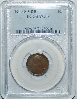 1909 S VDB PCGS VG8 Rare Key Date Lincoln Wheat Cent Penny