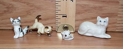 Unbranded Set of 3 Ceramic Cats & 1 Mouse Small / Miniature Figurines **READ**
