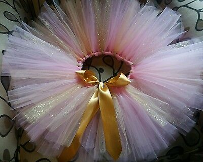 Baby Girl Birthday  tutu Gold with pink fluffy tutu size 12 months